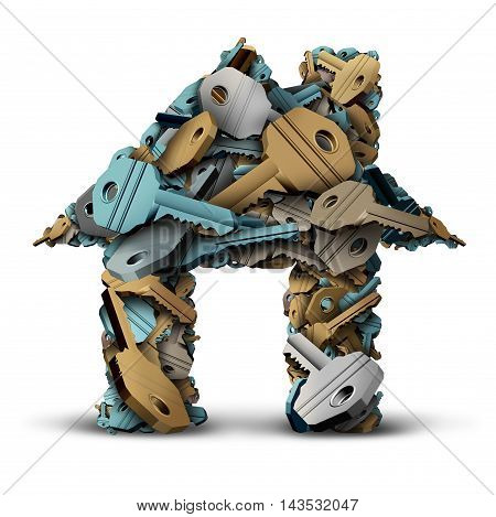 House key symbol and home ownership concept as a group of metal keys shaped as a family residence as a 3D illustration on a white background.