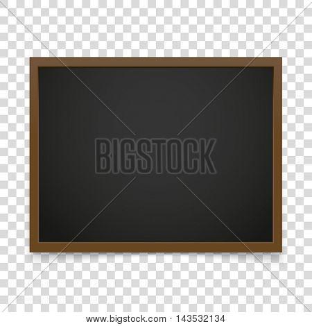 Vector blackboard frame isolated on transparent background. Vector illustration