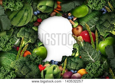 Fruit and vegetable thinking for human healthy diet concept as farm fresh produce shaped as a head symbol with vegetables and healthy natural food in a 3D illustration style.