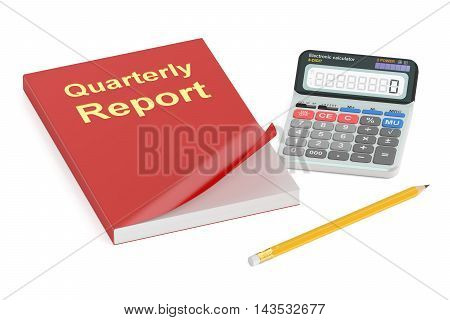 Quarterly report concept 3D rendering isolated on white background