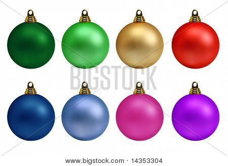 Collection of colourful Christmas balls, isolated on white.  XXL file.
