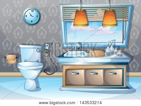 Cartoon Vector Illustration Interior Bathroom