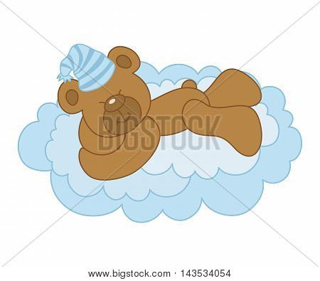 Vector cute bear sleeping on a cloud - It's a Boy