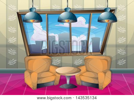 Cartoon Vector Illustration Interior Office Room With Separated Layers