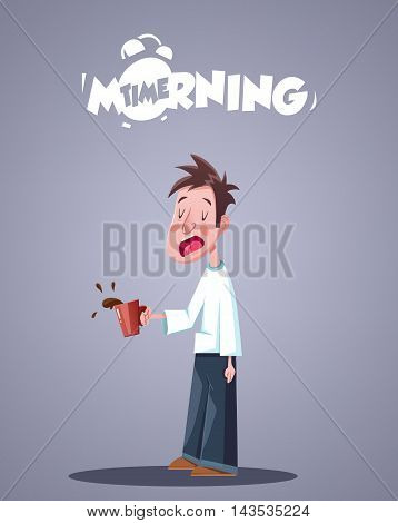 Daily Morning Life. Yawning Sleepy Man With Cup Of Coffee. Vector illustration