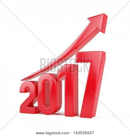 Red 2017 year with arrow up - growth concept. 3d rendering