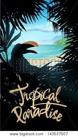 Tropical paradise poster design with sea and palms. Vector illustration