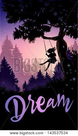 Inspirational romantic poster. Girl on a tree swing. Vector illustration