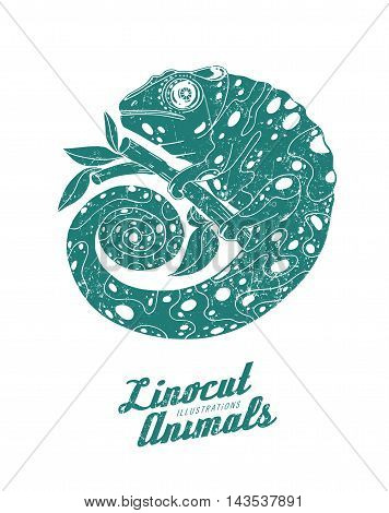 Vector illustration of linocut chameleon isolated on white background