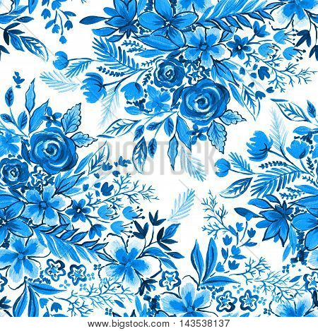 indigo and jeans blue floral pattern. Seamless botanical illustraion for fashion and upholstery, wedding stationery and other uses. Artistic brush strokes and small details.