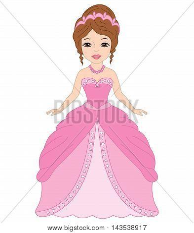 Vector beautiful princess with tiara in pink dress