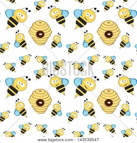 Cartoon bees and flowers and hives. Bees are flying.