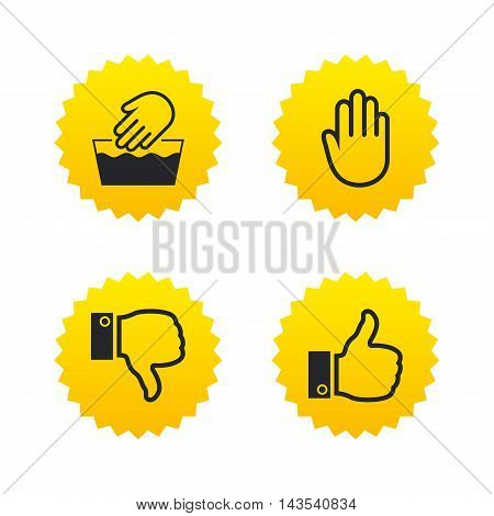 Hand icons. Like and dislike thumb up symbols. Not machine washable sign. Stop no entry. Yellow stars labels with flat icons. Vector