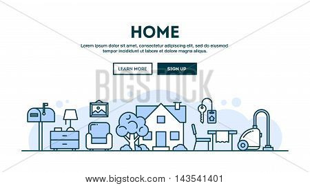 House home interior concept header flat design thin line style vector illustration
