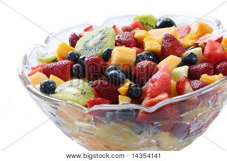 Glass bowl of luscious fresh fruit salad.