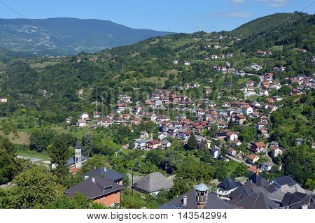 Panoramic view from old castle in the Jajce,Bosnia and Herzegovina