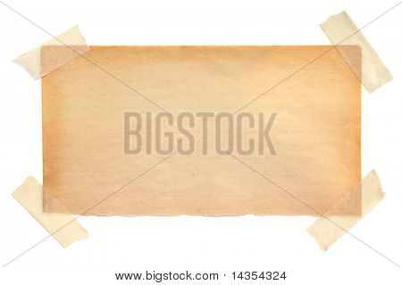 Aged lined notepaper fastened with masking tape.  Ready for your message.