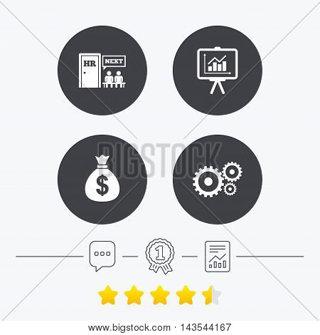 Human resources icons. Presentation board with charts signs. Money bag and gear symbols. Man at the door. Chat, award medal and report linear icons. Star vote ranking. Vector