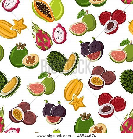 Exotic dessert fruits background with star fruits, papaya, lychee, passion fruits, violet figs, dragon fruits, guavas and durian fruits seamless pattern. Vegetarian dessert, tropical cocktail design