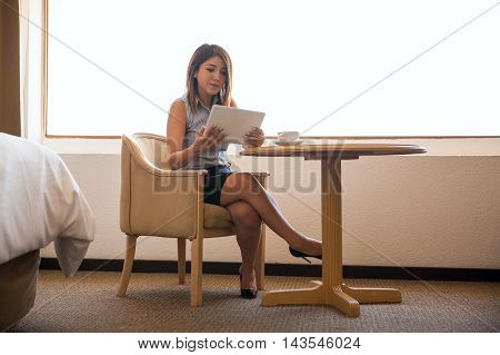 Businesswoman Working With A Tablet Computer