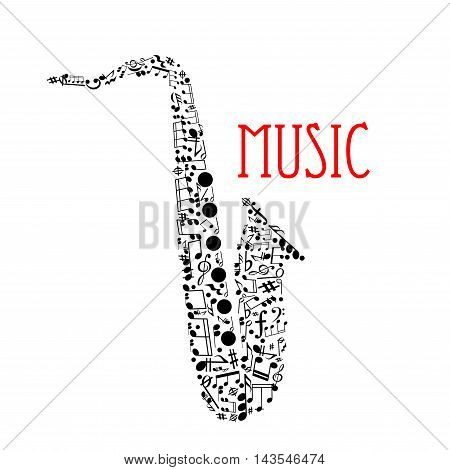 Musical notes forming silhouette of a saxophone with notes and chords of different duration, treble and bass clefs, rests, key signatures, forte and coda symbols. Music festival, jazz concert design