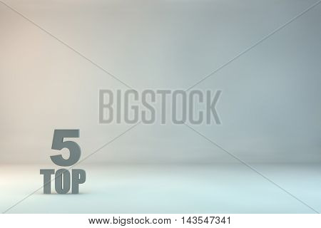 top 5 on background.3d illustration