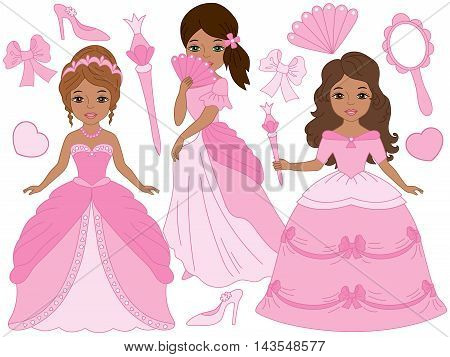 Vector African American beautiful princesses set in pink dresses