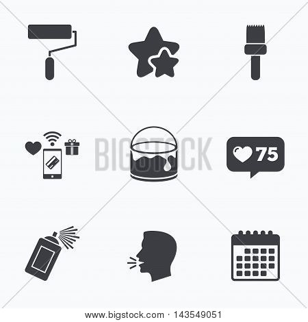 Painting roller, brush icons. Spray can and Bucket of paint signs. Wall repair tool and painting symbol. Flat talking head, calendar icons. Stars, like counter icons. Vector