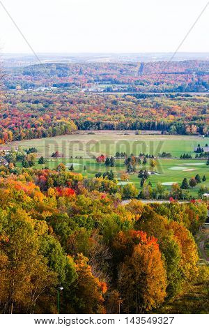 Golf course surronded by colorful fall foilage in Wisconsin.-1.jpg