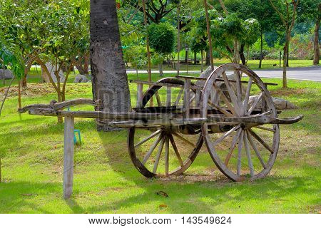 bullock cart in the garden use for background .