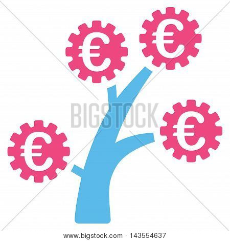 Euro Technology Tree icon. Vector style is bicolor flat iconic symbol with rounded angles, pink and blue colors, white background.