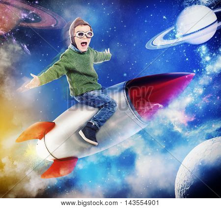 3D Rendering of happy child sitting on a missile