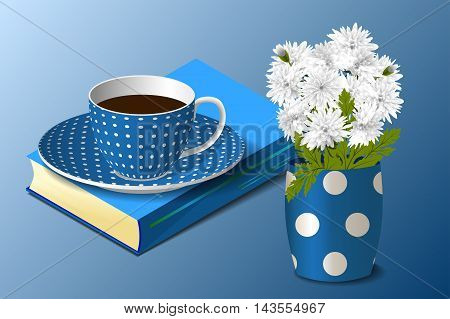 Blue spotted cup on the book and a spotted vase with white chrysanthemums on blue background, vector illustration