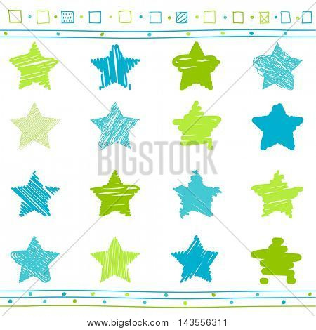 Vector collection of retro scribbled stars with hand drawn style of green and blue colors