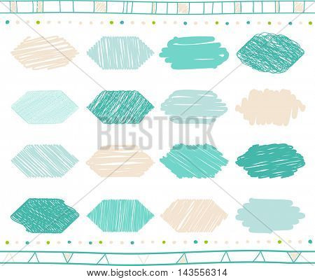 Vector collection of retro scribbled hexahedrons with hand drawn style of of green and beige color
