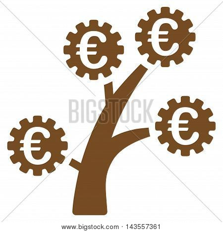 Euro Technology Tree icon. Vector style is flat iconic symbol with rounded angles, brown color, white background.