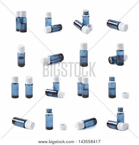 Small blue glass flask vial, composition isolated over the white background, set of multiple different foreshortenings