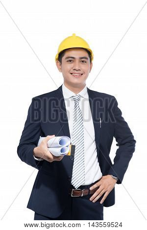 Young architect man with planes on white