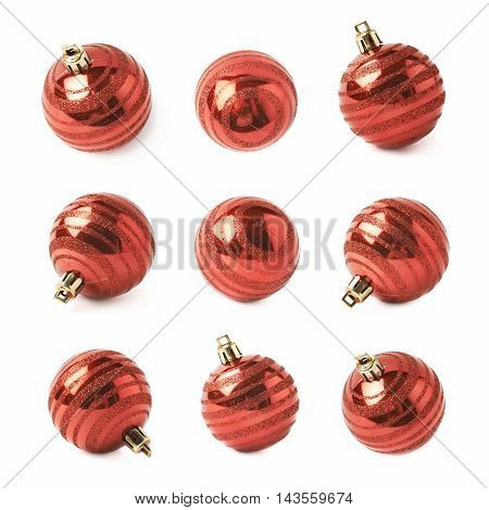 Single red Christmas tree ball decoration isolated over the white background, set of nine different foreshortenings