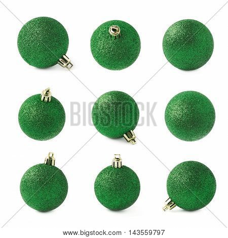 Single green Christmas tree ball decoration isolated over the white background, set of nine different foreshortenings