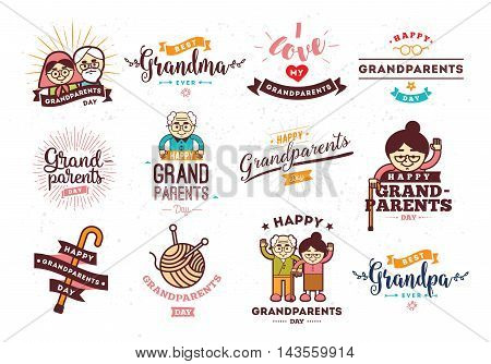 Happy Grandparents day typographic emblems, logo set. Grandma and grandpa vector illustation. Design for greeting card, flyer, poster, banner or t-shirt.