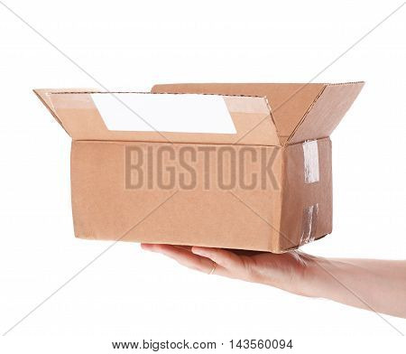 Hand Holding Cardboard Mail Box Isolated On A White Background