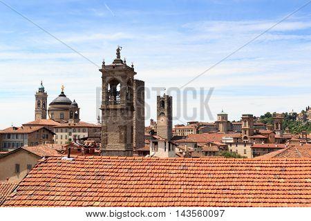Panorama Of Upper City Citta Alta With Towers, In Bergamo, Italy