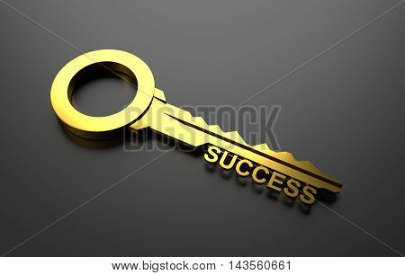 Success concept, Golden Key to success. 3D Illustration