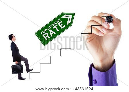Businessman walking on the stairs with upward arrow and employment rate text isolated on white background