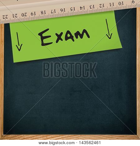Exam message against greenscreen