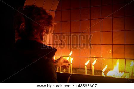 Istanbul Turkey - December 29 2013: Candles in Church Worship. St. Antoine Catholic Church Istanbul's largest and the community is the largest Catholic Church. located on Istiklal Caddesi in Beyoglu.