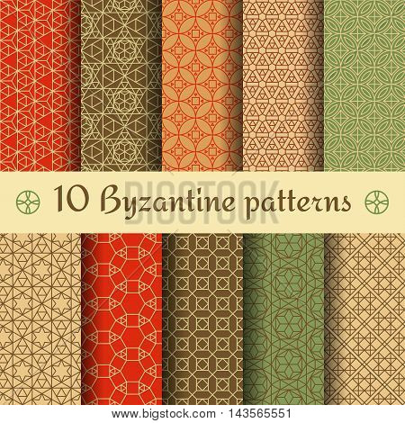 Byzantine seamless patterns set. Colored vector illustration.