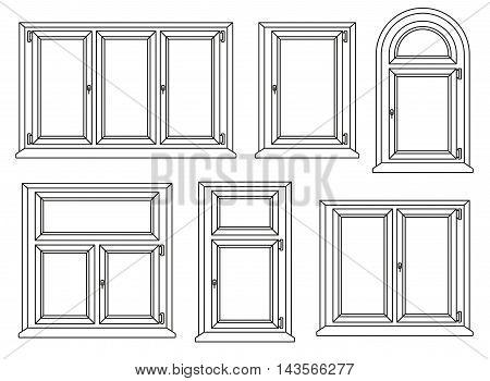 Plastic windows line icons set. Vector illustration.