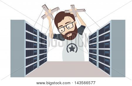Conceptual Vector Flat Illustration of Man as a Puppet Master Controls Datacenters and Servers Racks